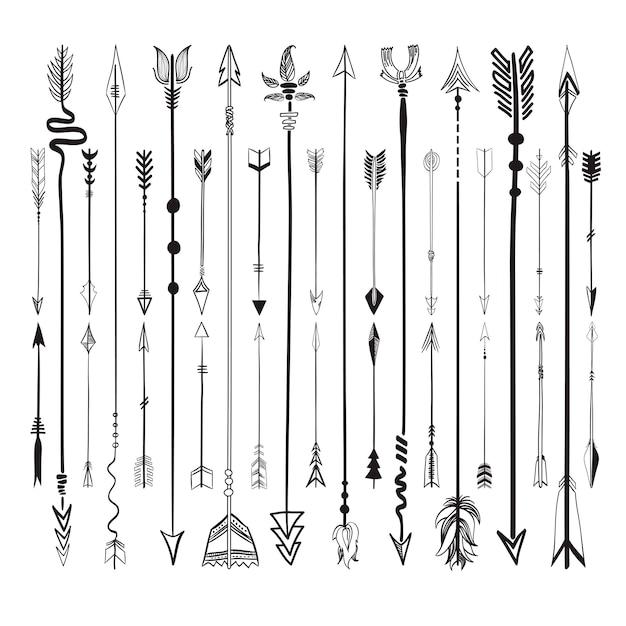 Stel verzameling van pijlen pictogrammen