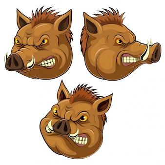 Stel verzameling van wilde zwijnen hoofd mascotte