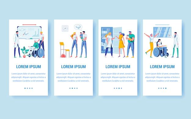 Stel vier banners met kopieerruimte in voor extra tekst