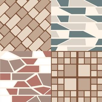 Stel vier naadloze abstracte en geometrische texturen in voor een architecturale afwerking