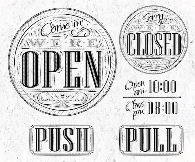 Stel vintage open gesloten in