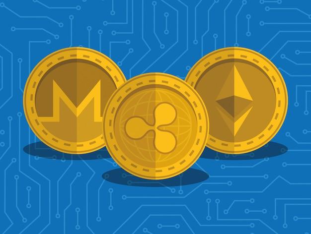 Stel virtuele munten met circuit achtergrond