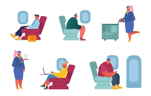 Stel vliegtuigbemanning en passagierstekens in het vliegtuig in