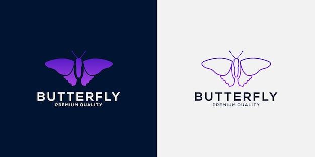 Stel vlinderlogo-ontwerp in met luxe verloopkleur