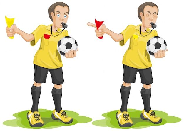 Stel voetbalscheidsrechter fluit en toont kaart.