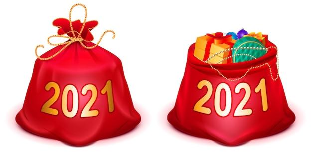 Stel volledig gesloten en open rode kerstmanzak in. geïsoleerd op wit cartoon afbeelding