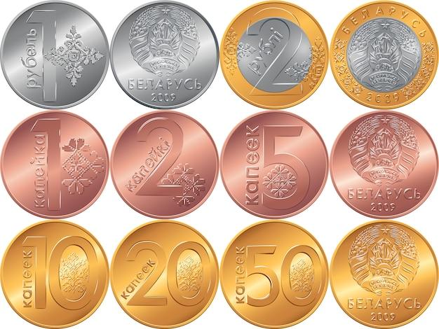 Stel voor- en achterkant nieuwe wit-russische geldmunten in