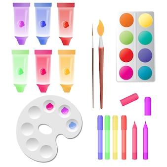 Stel voor kinderen creativiteitsbuizen met verf, aquarel, markeringen, palet.
