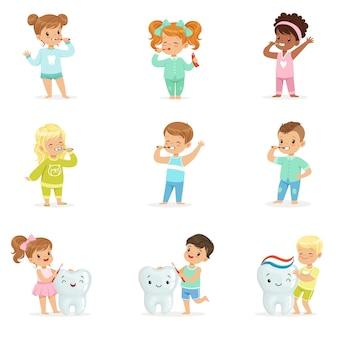 Stel voor. kleurrijke cartoon gedetailleerde illustraties op witte achtergrond