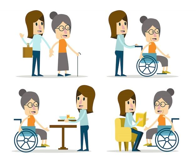 Stel vrijwilliger voor ouderenzorg. platte karakterontwerp. vector illustratie