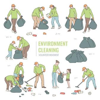 Stel vrijwilligers in die afval in zakken sorteren. volwassenen en kinderen maken de omgeving schoon van afval