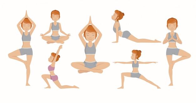 Stel vrouw yoga in.