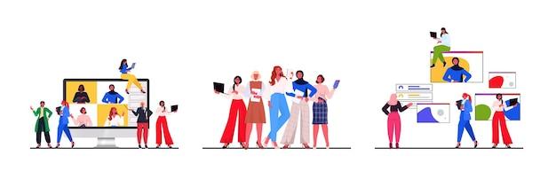 Stel vrouwelijke leiders bespreken met collega's tijdens videogesprek leiderschap concept horizontale vectorillustratie