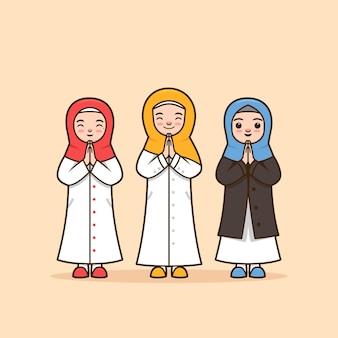 Stel vrouwelijke moslim karakter illustratie met hijab sjaal ramadhan bedanken, groeten, verontschuldigen, afscheid pose met respect door twee handpalmen samen te splitsen