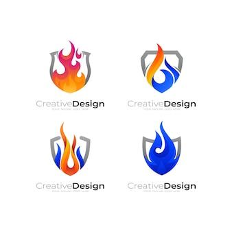 Stel vuurlogo en schildontwerpcombinatie in, flame-logo illustratie