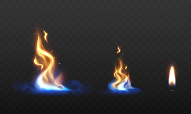 Stel vuurvlammen in brandende rode hete vonken realistisch