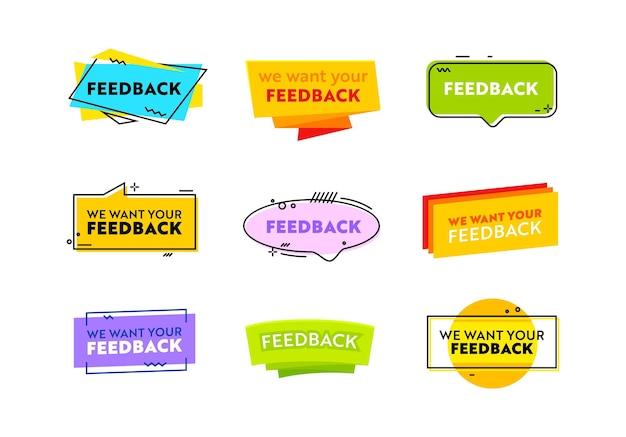 Stel we willen uw feedback banners of etiketten geïsoleerd op een witte achtergrond. communicatie via sociale media, websiteknoppen, mening van klanten of volgers, online beoordeling van internet. vectorillustratie, pictogrammen
