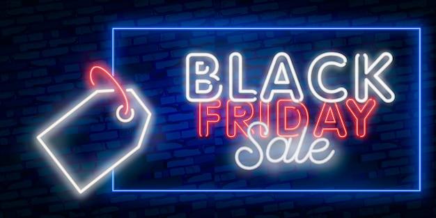 Stel webbanner black friday in. neon bord. webbanner, logo, embleem en label. neonteken, helder uithangbord, lichte banner.