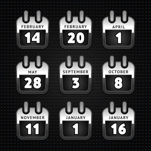 Stel webkalender pictogrammen, metalen oppervlak - seconde