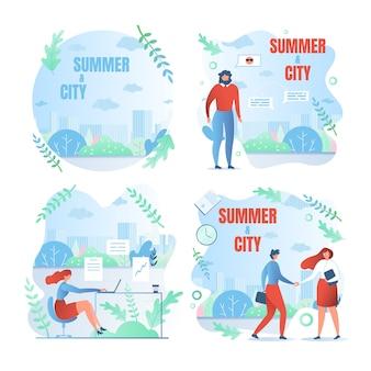 Stel werkweekdagen, schriftelijke zomer en stad in