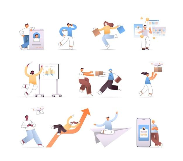 Stel zakenmensen in verschillende poses mix race mensen in verschillende situaties stripfiguren collectie