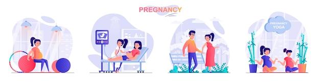 Stel zwangerschap platte ontwerp concept illustratie van personen karakters