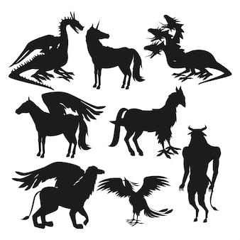 Stel zwarte silhouet dierlijke griekse mythologische wezens