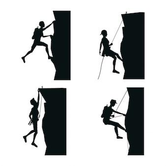 Stel zwarte silhouet scène mannen klimmen op een rots berg