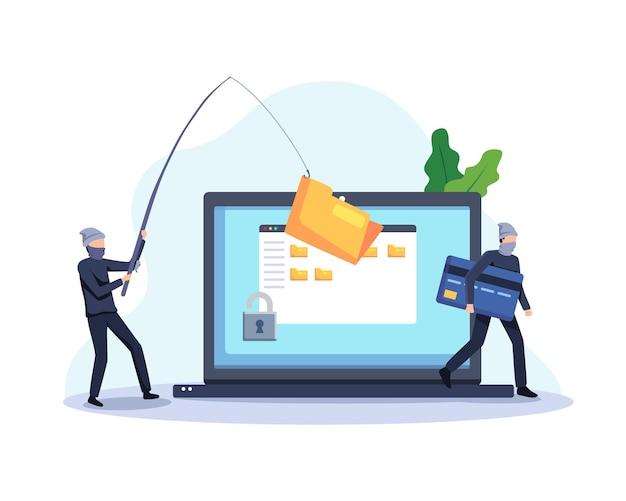 Stelen gegevens concept illustratie. hackers en cybercriminelen phishing die persoonlijke persoonlijke gegevens stelen. vector in een vlakke stijl