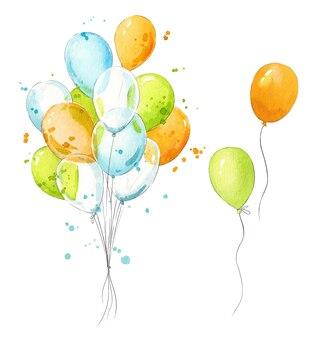 Stelletje kleurrijke luchtballonnen aquarel illustratie