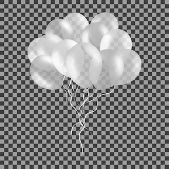 Stelletje witte helium ballonnen geïsoleerd op transparant.