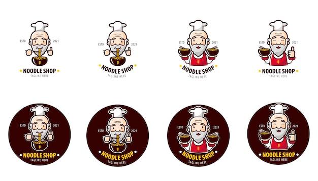 Stelt logo van noedelrestaurant in met oude chef-kok als mascotte
