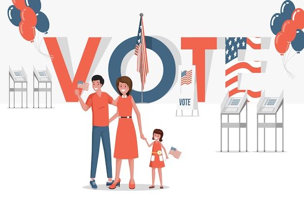 Stem banner. gelukkige glimlachende familie, verklede vader, moeder en klein meisje die stemmen over verkiezingen in de verenigde staten van amerika.