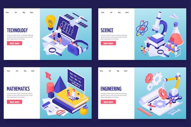Stem-onderwijs vier horizontale banners met koptekst woorden wetenschap technologie engineering wiskunde isometrisch