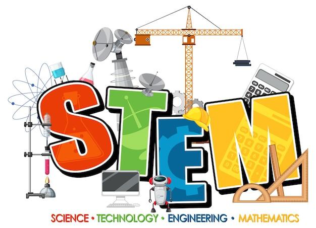 Stem-onderwijsembleem met wetenschap en technologievoorwerpen