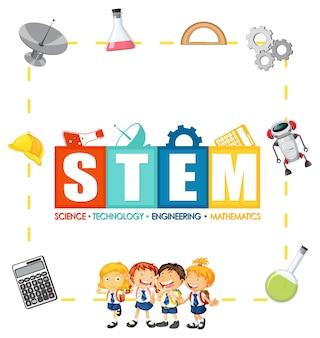 Stem-onderwijslogo met kinderen en onderwijspictogramelementen