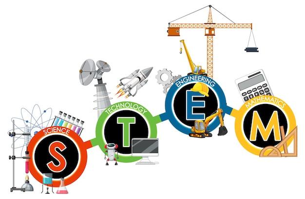 Stem-onderwijslogobanner met leerpictogramelementen