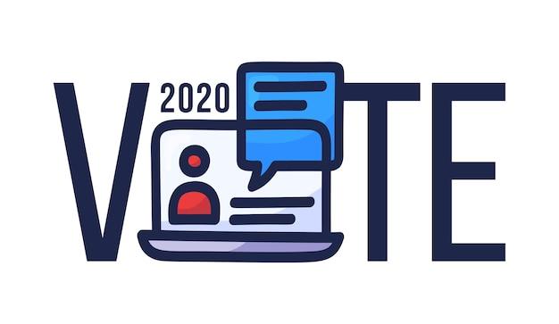 Stem online concept elektronisch stemmen in de verenigde staten Premium Vector
