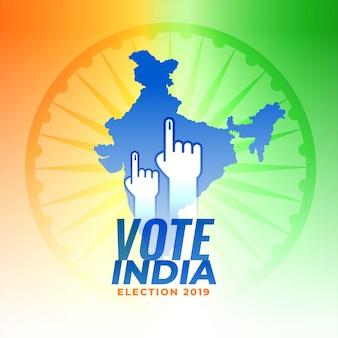 Stem op de verkiezingsachtergrond van india