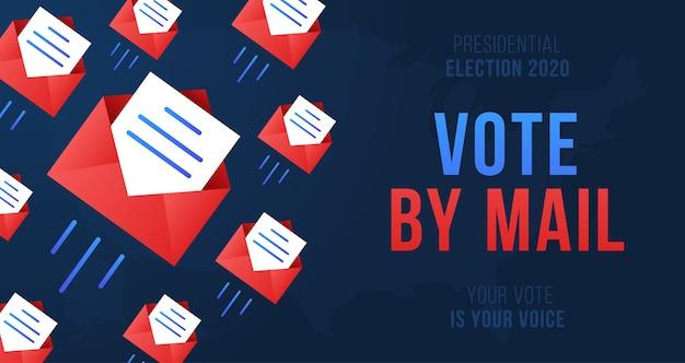 Stem per mail. stay safe-concept de presidentsverkiezingen van 2020 in de verenigde staten.