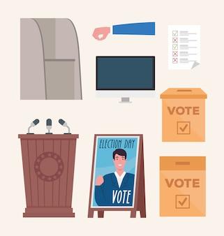 Stem pictogrammenset ontwerp, dag van de verkiezingen en regering