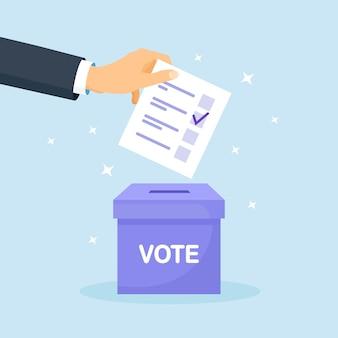 Stem stembus. man die papieren stem in de doos stopt. verkiezingsconcept. democratie, vrijheid van meningsuiting, rechtvaardigheid stemmen en mening. referendum en verkiezingsevenement