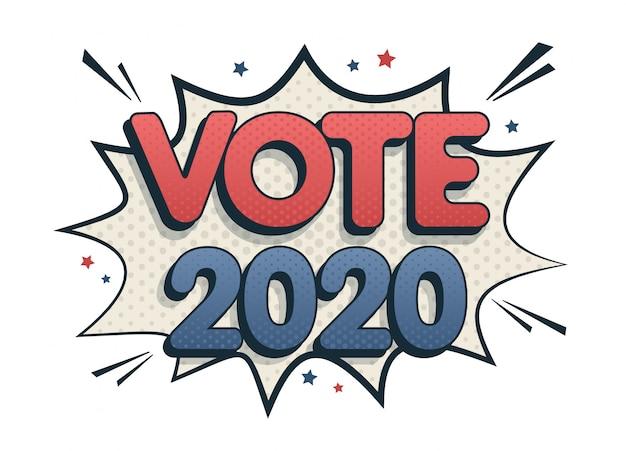 Stem tekstballon 2020 in de vs.