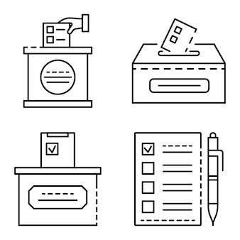 Stembiljet pictogramserie. overzicht set van stembus vector iconen