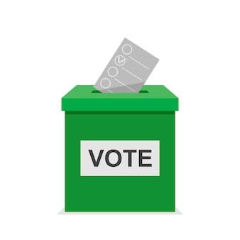 Stembulletin met groene stembus. verkiezing en democratie politiek proces selecteren concept. platte ontwerp vectorillustratie