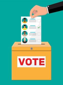 Stembus en document met kandidaten. hand met verkiezingsrekening. stem papier met gezichten. vectorillustratie in vlakke stijl