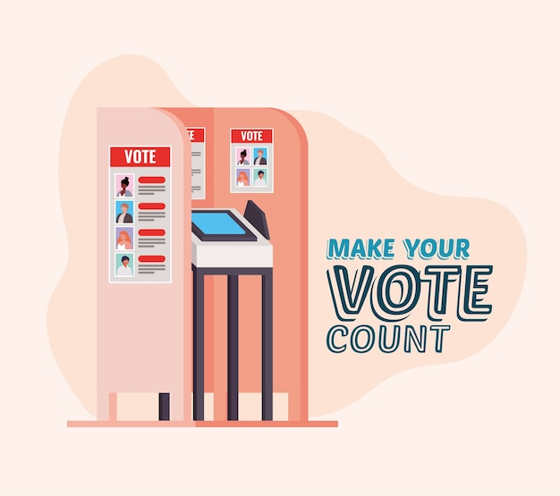 Stemhokje met tekstontwerp, verkiezingsdagthema, stem tellen.