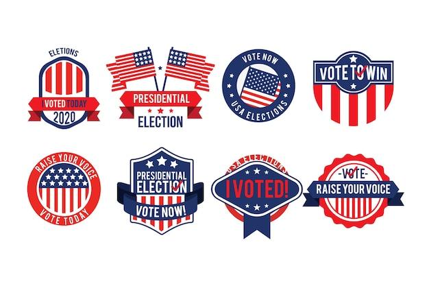 Stemmen badges en stickers set