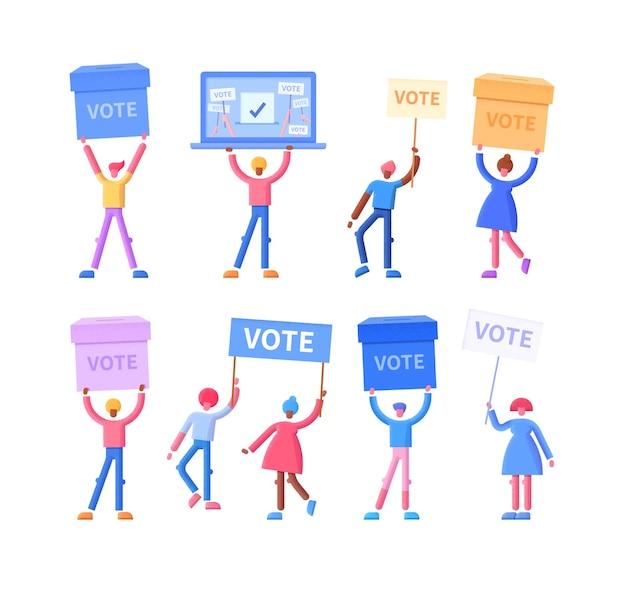 Stemmen concept vlakke afbeelding met gelukkige kiezers met stemkastjes