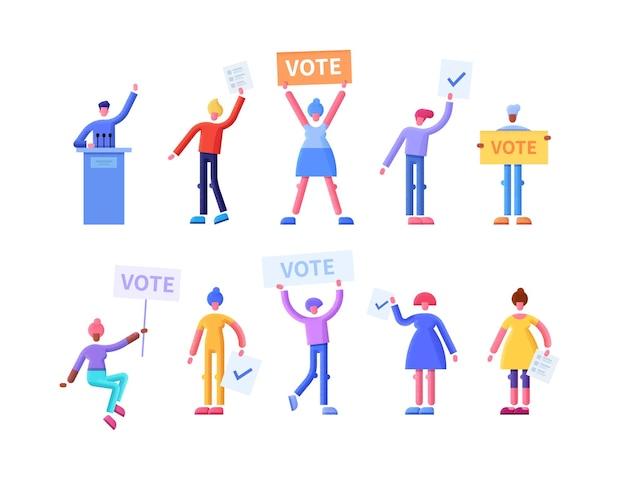 Stemmen concept vlakke afbeelding met gelukkige kiezers met stemmingsbulletins en borden